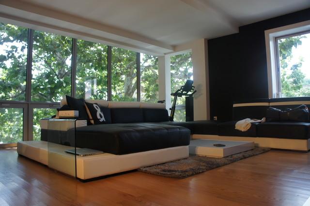 Black & White Presidential Suite modern-living-room