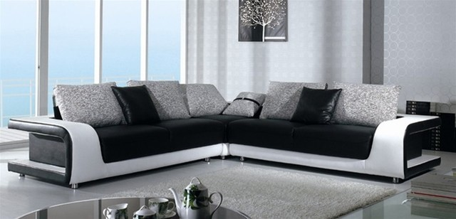Black And White Sectional Sofa In Top Grain Leather Modern Living Room