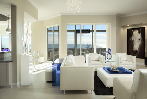 Contemporary White, Black and Navy Blue Living Room design by Mingle featuring white Dura Supreme Cabinetry