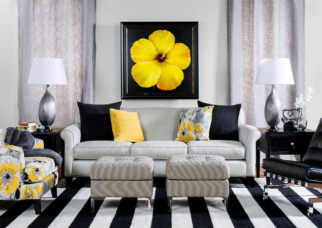 Black and yellow living room contemporary living room for Living room yellow accents