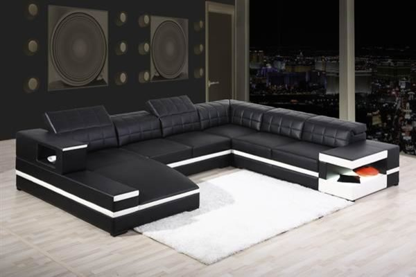 Black Bonded Leather Sectional Sofa With Adjule Headrests Modern Living Room