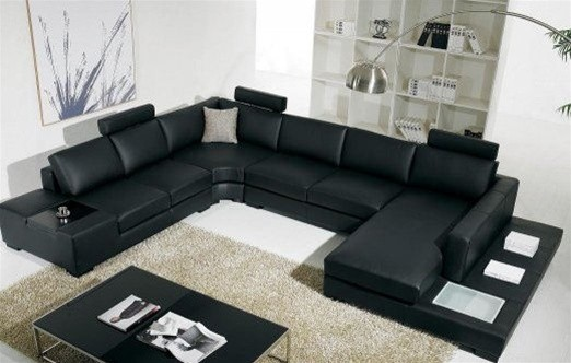 Black Bonded Leather Sectional Sofa with Light - Modern - Living ...