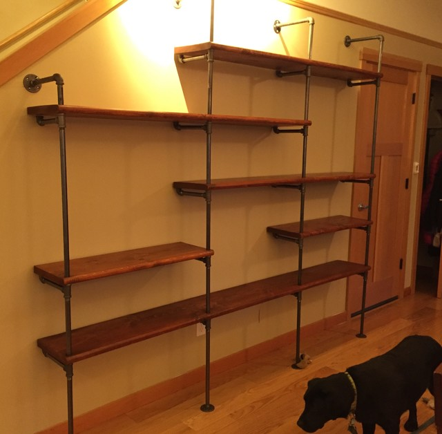Black Iron Pipe Shelves Transitional Living Room Portland