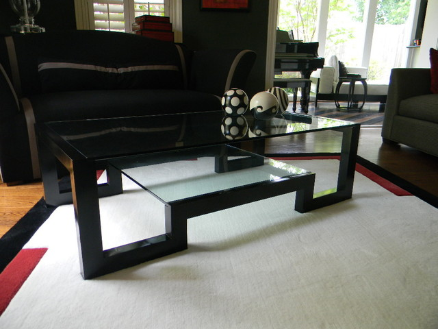 Black Lacquer Coffee Table Contemporary Living Room
