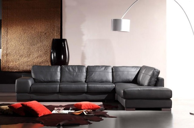 Black Leather Sectional Sofa in Genuine Leather modern-living-room : genuine leather sectional - Sectionals, Sofas & Couches