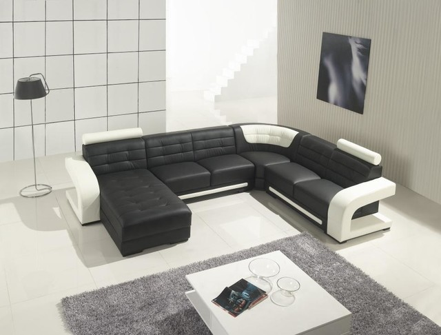 Black Leather Sectional Sofa with Chaise - Modern - Living Room ...