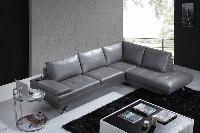 Black Leather Sectional Sofa With Cup Holders Modern Living Room