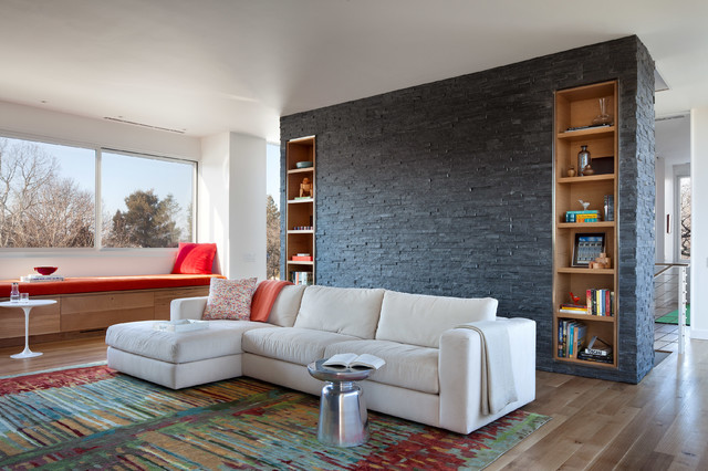 Black Natural Stone Wall Feature Living Room Contemporary Living Room