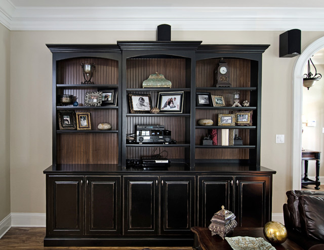 Black Painted Bookcase With Beadboard Interior Traditional Living Room Part 3