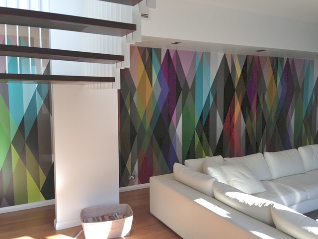 Installation By Cutting Edge Wallpapering Wallpaper From Removablewallpaper Modern Living Room