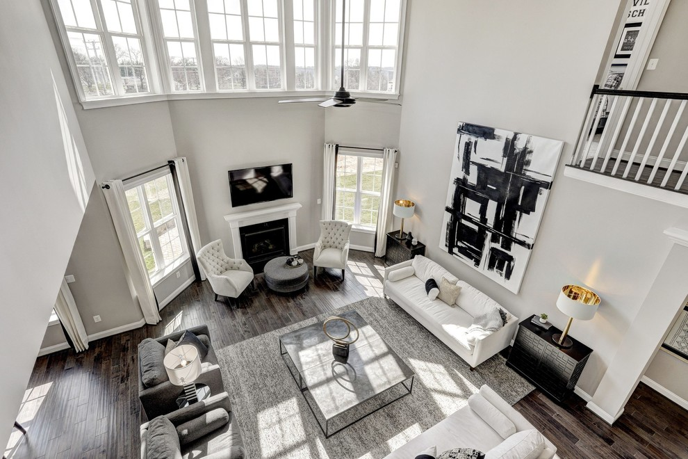 Black White Gold Open Concept Living Room Modern Living Room Dc Metro By Candice Prather Interiors