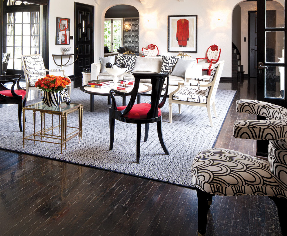 Example of an eclectic dark wood floor living room design in San Francisco