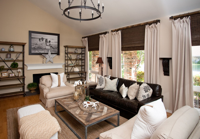 Example of a trendy living room design in Orange County with beige walls Leather Couch Living Room  Houzz