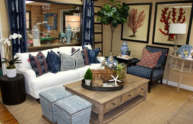 Blackband Design Showroom Beach Style Living Room