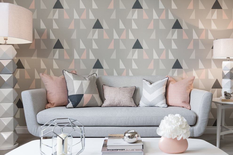 Inspiration for a contemporary living room remodel in London with gray walls