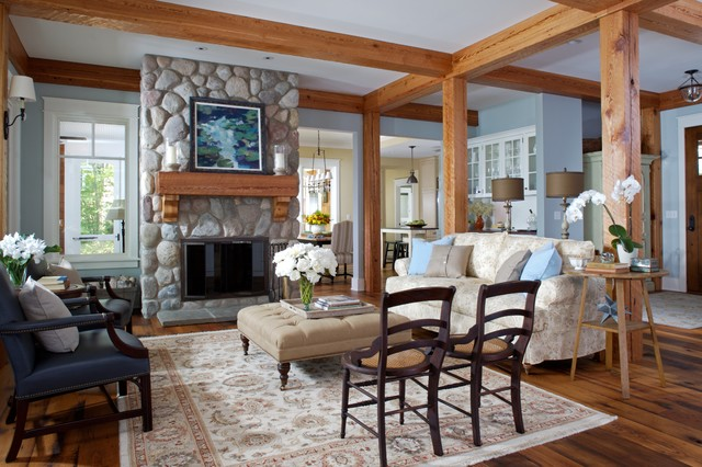 blaine  traditional cottage  rustic  living room  grand rapids, Living room