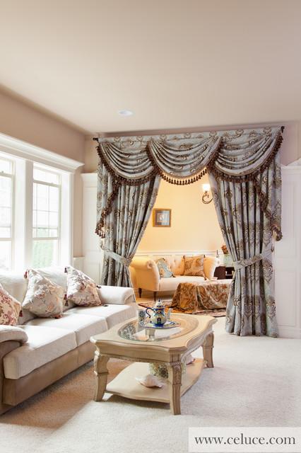 Bleu Fleurs De Lis - Designer Swag Valance Window Treatment traditional-living-room