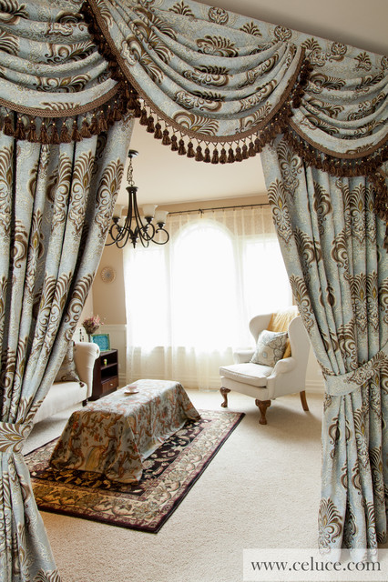 Valance curtains with swags and tails by celuce com traditional living - Bleu Fleurs De Lis Designer Swag Valance Window