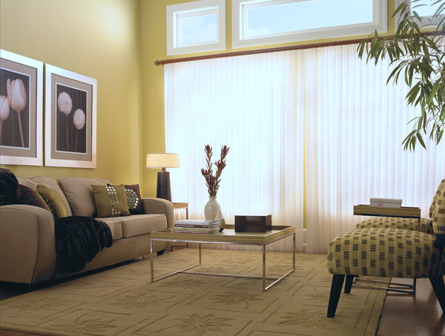 Blinds Brand Sheer Delight Vertical Shades Contemporary Living Room