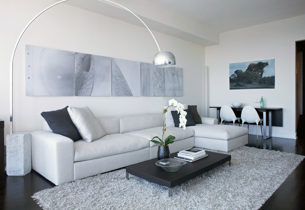 Inspiration for a modern living room remodel in Other with white walls