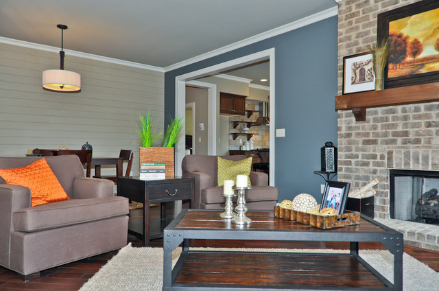 Delightful Blue Accent Wall Transitional Living Room