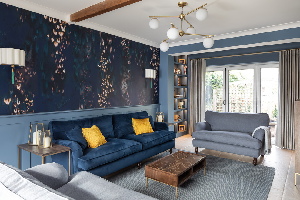 Blue And Gold Living Room Transitional Living Room Kent By Furnished By Anna