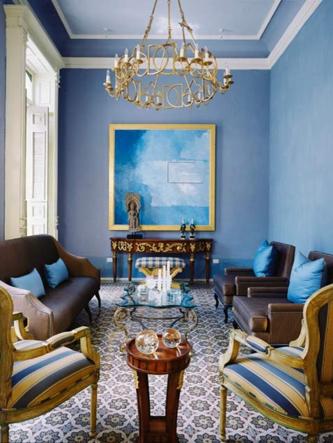 Blue gold living room for Living room ideas gold