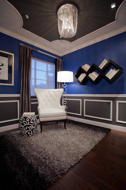 Blue And White Library Reading Room Eclectic Living