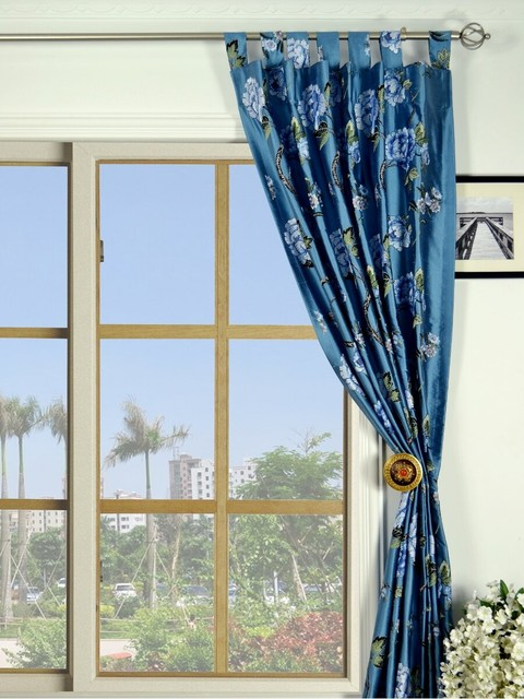 Blue Blackout Embroidered Floral Tab Top Dupioni Silk Curtains Traditional Living Room