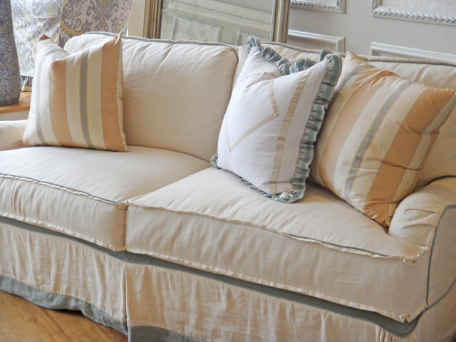 Blue, Champagne, Peach Pillows - Traditional - Living Room - other metro - by Quatrine Custom ...