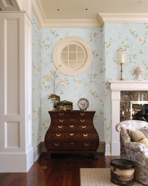 Blue Floral Wallpaper Traditional Living Room Boston
