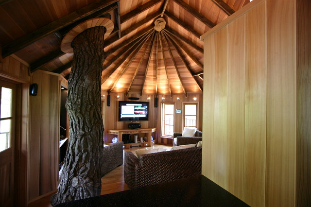 Blue Forest Tree House eclectic-living-room
