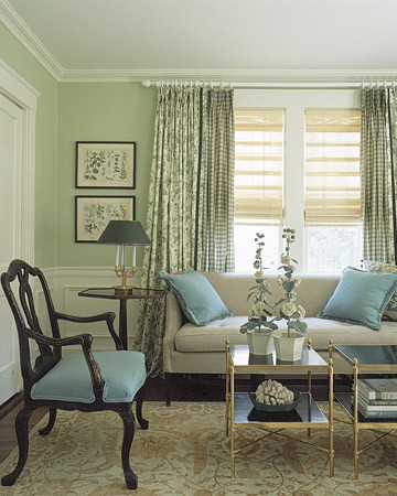 Blue green livingroom for Green traditional living room