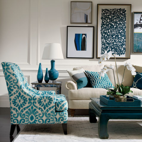 Blue Lagoon Living Room   Ethan Allen Jacksonville FL  Beach Style Living Room