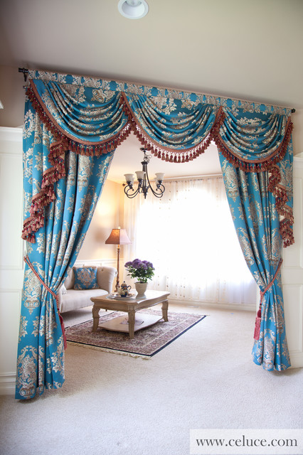 Blue Lantern Swag Valance Curtain Set Traditional Living Room Seattle By Celuce