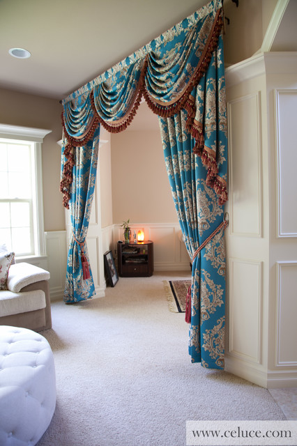 swag valances for living room blue lantern swag valance curtain set traditional 21667