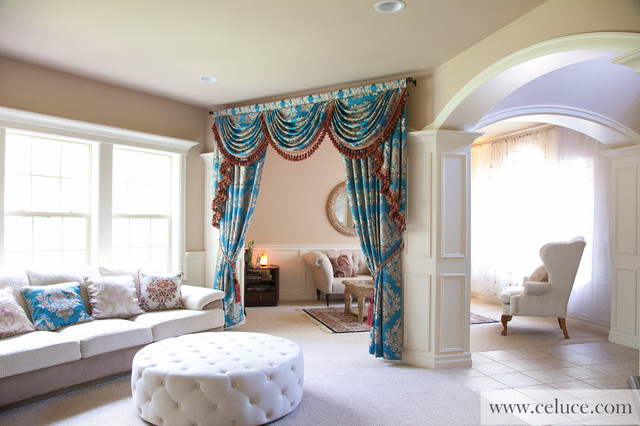 blue lantern swag valance curtain set traditional