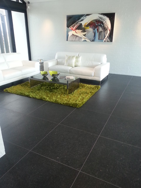 Black tile flooring modern living room modern house for Living room floor tiles