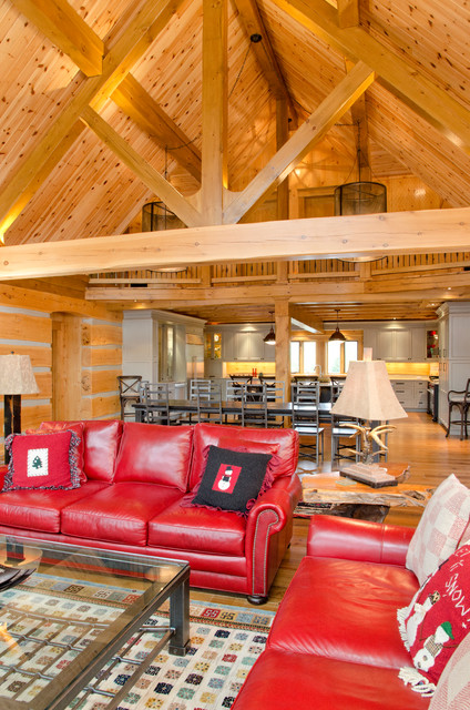 Blue mountain on custom log home rustic living room