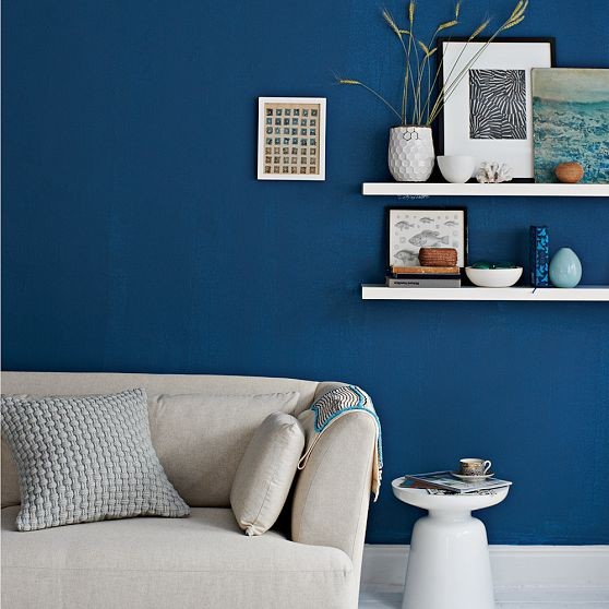 Inspiration for an eclectic living room in Other. & Blue paint