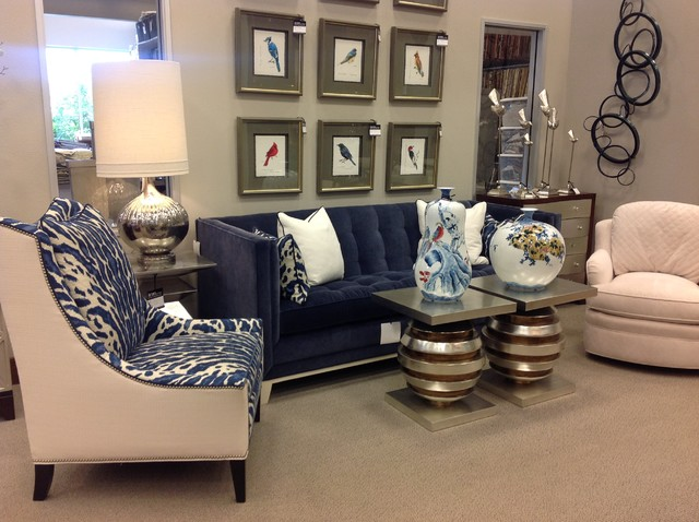 blue velvet sofa & animal print chairs - Transitional ...