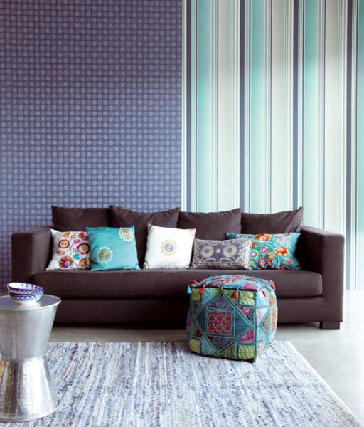Blue wallpaper by eijffinger contemporary living room - Blue wallpaper living room ...