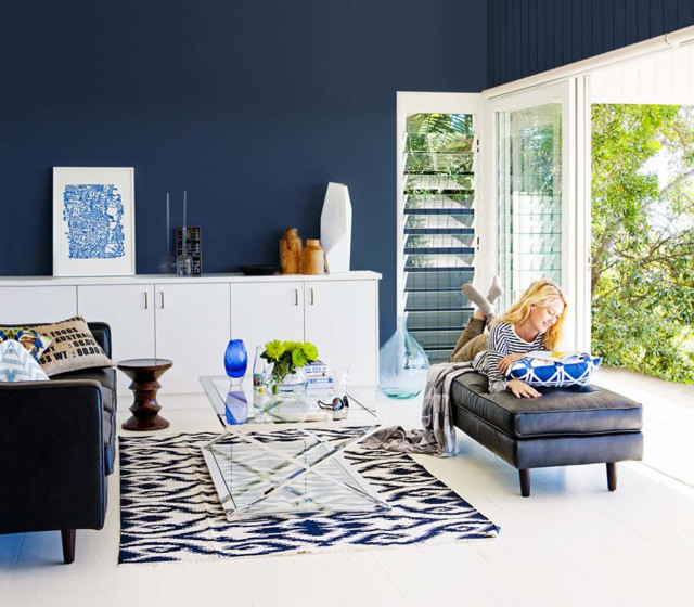 Blue WallsEclectic Living Room