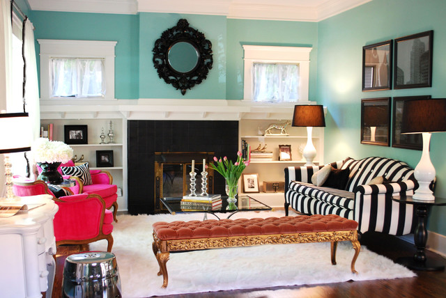Eclectic Living Room By Judith Balis Interiors Turquoise And Black