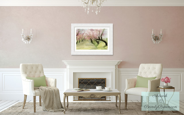 Blush Pink Living Room with Spring Cherry Blossoms Art - Shabby-chic Style - Living Room - new ...
