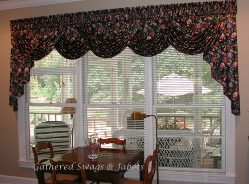Is the swag and jabot valance all in one piece how big for Living room valances