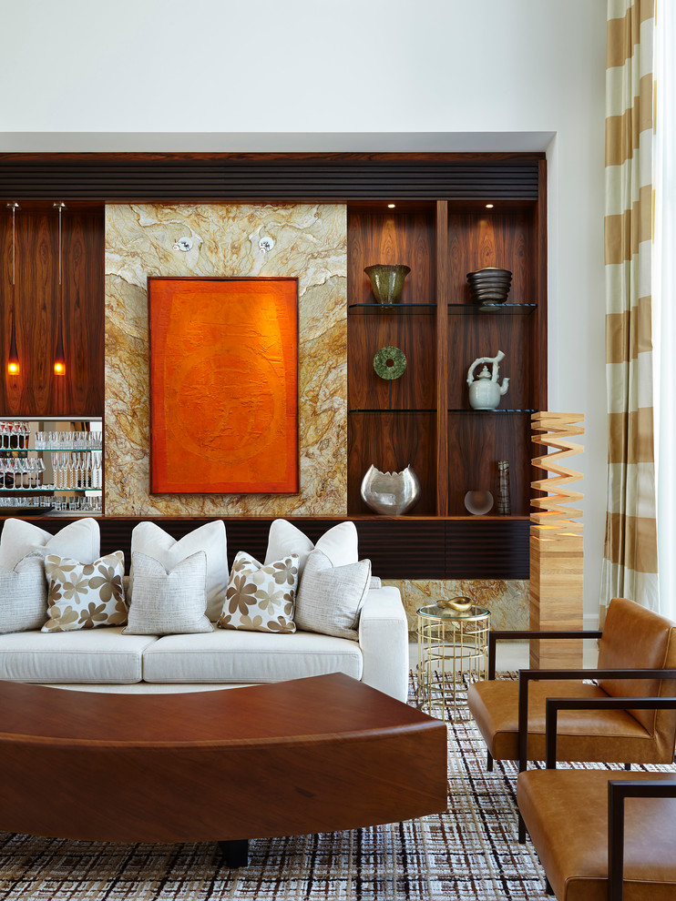 Inspiration for a contemporary formal living room remodel in Miami with white walls