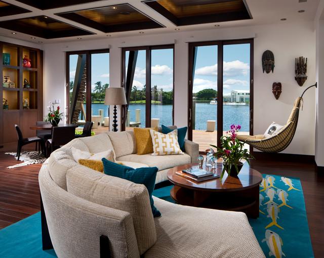 Boca Raton, FL tropical-living-room