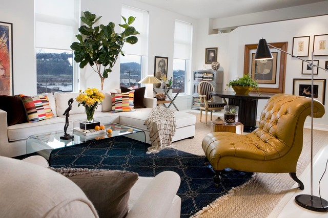 Bohemian Chic Loft Transitional Living Room Other