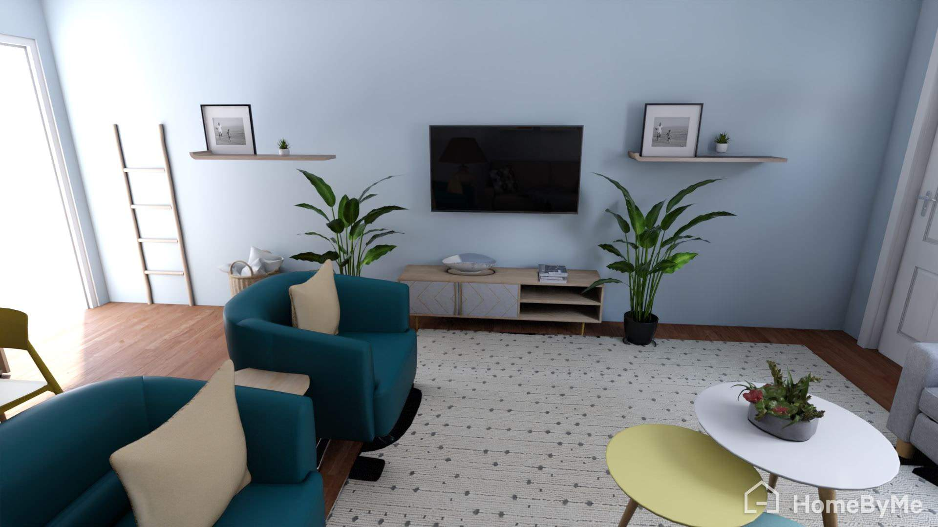 Mid-sized 1960s enclosed dark wood floor, brown floor, wood ceiling and wallpaper living room photo in Nashville with blue walls and a wall-mounted tv